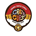 Crazy Cups Caramel Truffle Sandae Flavored Coffee Single Serve cups for Keurig K-cup Brewer, 22 Capsules 0.45oz(13g) each, Net Wt - 10.1oz(286g) made by Crazy Cups
