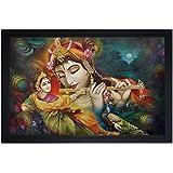 SAF 'Radhey Krishna Ji' Framed Painting (Wood, 30 Cm X 3 Cm X 45 Cm, Special Effect Textured, SAO27)