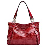PASTE Women's Red Real Leather Handbag Shoulder Bag Large Capacity New