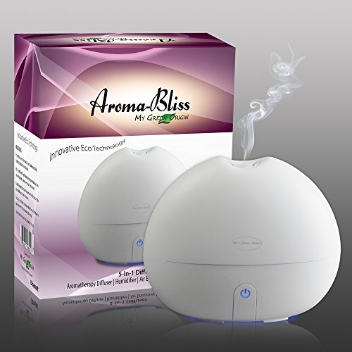 Ultrasonic Essential Oil Diffuser - Innovative And Stylish Aromatherapy Diffuser - Oil Diffuser With Energy Saving Ultrasonic Technology - A 5 In 1 Essential Oils Diffuser: Aroma Diffuser, Cool Mist Humidifier, Air Purifier, Ionizer And Soft Blue Night Li