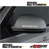 2 x Spiegel Aufkleber Spiegelaufkleber Mitsubishi Aufkleber Autoaufkleber Auto Tuning Sticker Aufkleber mit Montage Set inkl.