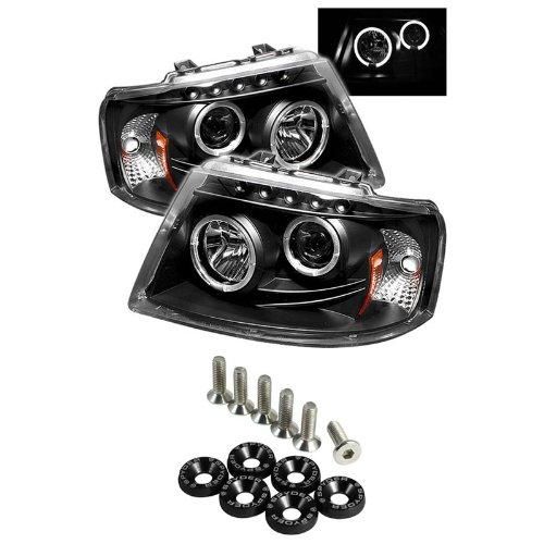 Carpart4U Ford Expedition Halo Led ( Replaceable Leds ) Projector Headlights - Black & Spyder Washer 6Pcs - Black