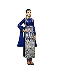 Deep Blue Georgette Designer Party Wear Semi Stitched Salwar Suit