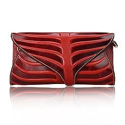 Pijushi Leaf Designer Handbags Embossed Leather Clutch Bag Cross Body Purses 22290 (One Size, Red)