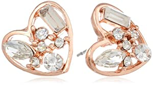 "Betsey Johnson ""Iconic Baguette"" Crystal Heart Stud Earrings"