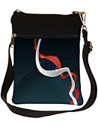 Snoogg White And Red Pathway Design Cross Body Tote Bag / Shoulder Sling Carry Bag