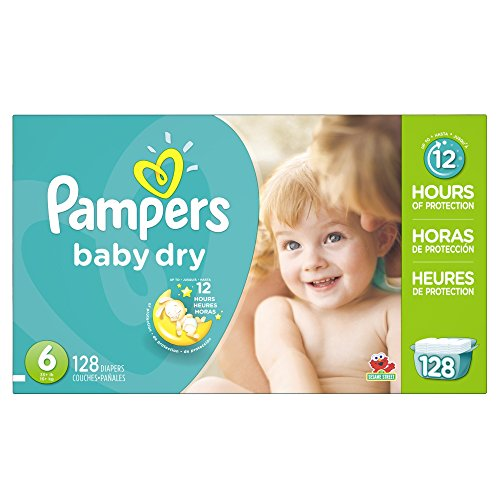 Pampers Baby Dry Diapers Economy Pack Plus, Size 6, 128 Count