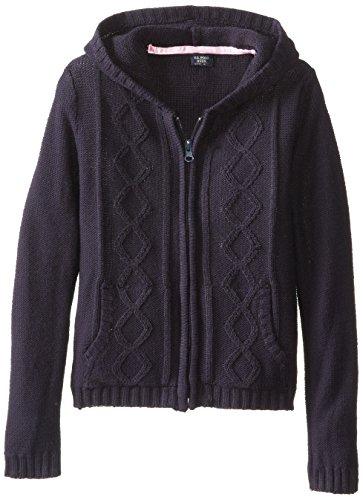 U.S. Polo Association  Little Girls'  Sweater Jacket With Hood, Navy, Large/6X