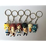 Gracenn Cosplay Fairy Tail Anime Characters Keychains Doll Set of 6pcs