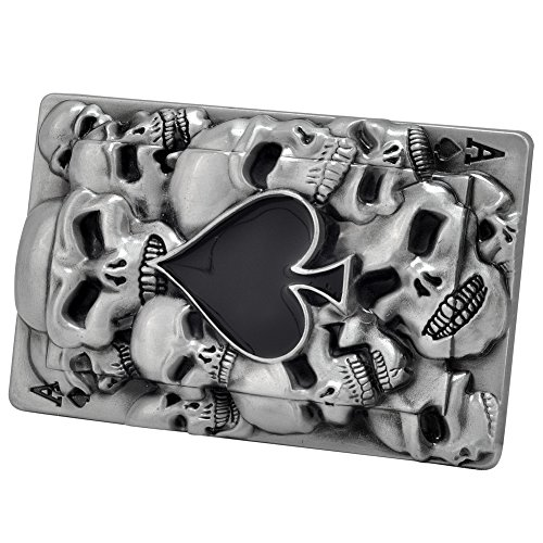 Buckle Rage Adult Mens Ace of Spades Black Skull Goth Belt Buckle Black Silver