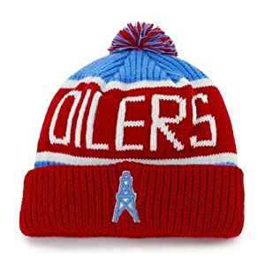 Tennessee Titans Houston Oilers Vintage Calgary Beanie Hat with Pom - NFL Cuffed... by Forty Seven 47 Brand