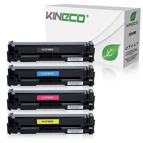 4 Kineco Toner kompatibel zu HP 201X Tonerkartusche LaserJet Pro MFP M277dw, Pro 200 M252dw, M277n, M252n, M277n, M274n – CF400 – Schwarz 2.800 Seiten, Color je 2.300 Seiten