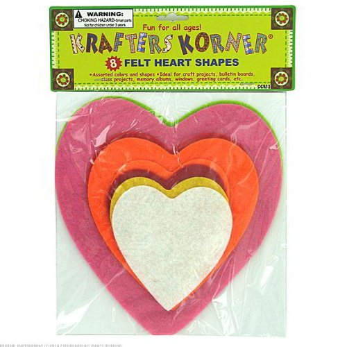 24 Packs of 8 Assorted Color Felt Hearts