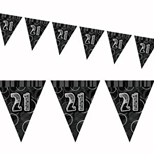 12ft Black Sparkle Happy 21st Birthday Pennant Flag Banner Party Decoration . by Unique