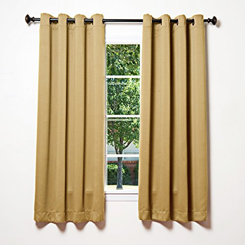 Best Home Fashion Premium Thermal Insulated Blackout Curtains - Antique Bronze Grommet Top - Wheat - 52