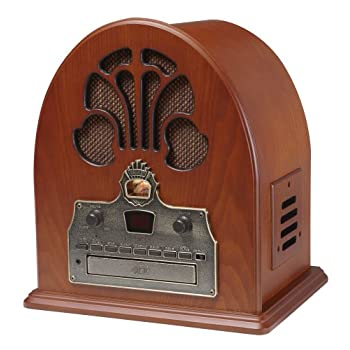 Crosley CR32CD Cathedral Retro AM/FM Radio and CD Player with Full-Range Stereo Speakers, Paprika