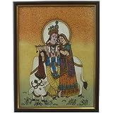 Great Art Divine Lovers Radha Krishna Gemstone Painting -138