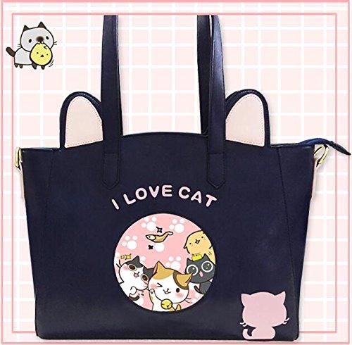 Japanese Game Neko Atsume ねこあつめ Cute Cat Backyard kitty collector PU Handbag  Shoulder bag Tote Gift 9b0c3d298c362