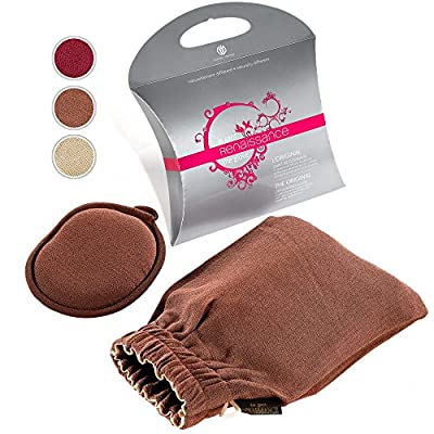 Renaissance Exfoliating Gloves by Daniele Henkel. Bath mitt for face & body skin exfoliation, cellulite reduction, acne treatment support & more!