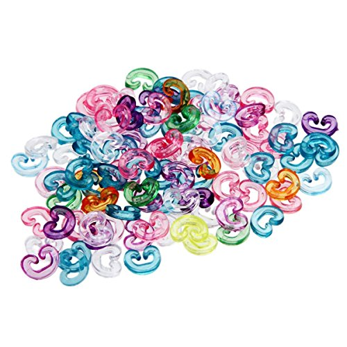 ETHAHE Pack of 100pcs Multicolor Colorful Loom Rubber Bands Bracelets Refill C-Clips - 1