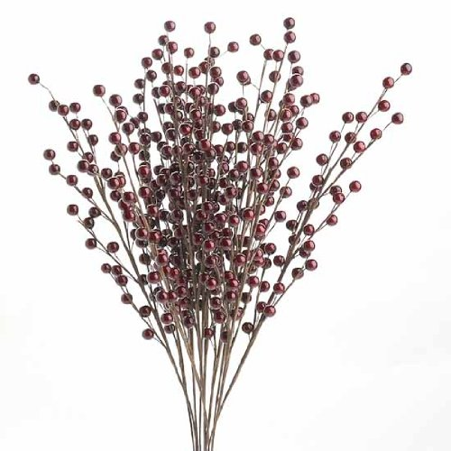 Factory Direct Craft Package of 12 Burgundy Berry Floral Sprays for Christmas, Holiday, Party, and Wedding Decorating