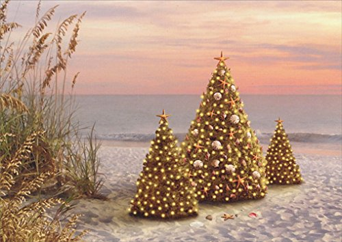 18-christmas-cards-and-embossed-envelopes-decorated-trees-on-the-beach