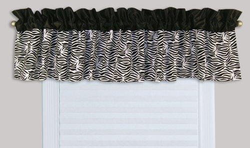 Trend lab window valance black white zebra print home for Animal print window treatments