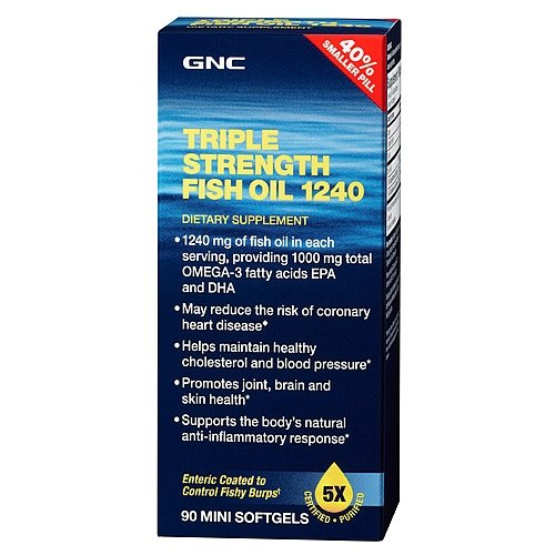 Gnc triple strength fish oil 1240 90mini softgels for Viva naturals triple strength omega 3 fish oil
