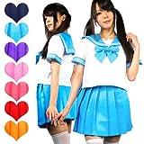 【制服コスプレ】 ビタミンカラー♪セーラー服 (Mサイズ・レッド)