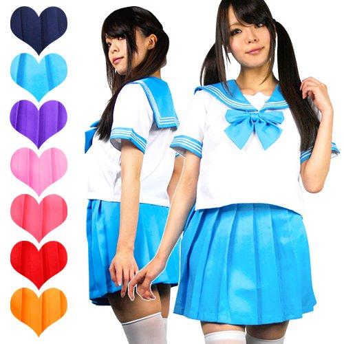 【制服コスプレ】 ビタミンカラー♪セーラー服 (Lサイズ・ネイビー)