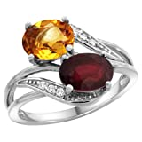 14K White Gold Diamond Natural Citrine & Enhanced Ruby 2-stone Ring Oval 8x6mm, sizes 5 - 10