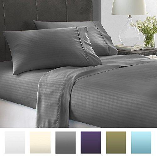 Beckham Hotel Collection Luxury Embossed Stripe Design 4pc Bed Sheet Set Queen Gray Stripe