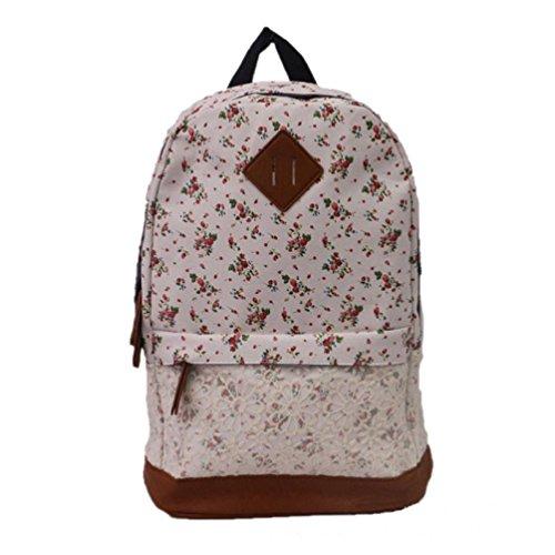 Malloom-Mujeres-chicas-moda-flor-encaje-lienzo-mochila-bolso-de-escuela