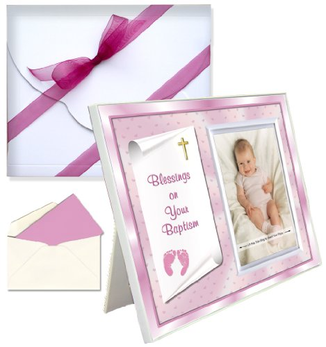 "Baby Blessing Baptism Christening Picture Frame Gift ""Blessings on Your Baptism"" - Girl"