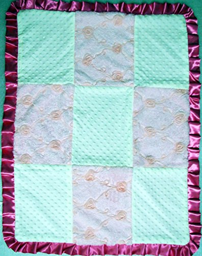 New Boutique Pink Roses And White Minky Chenelle Baby Blanket front-468764