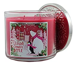 Bath & Body Works Home Winter Candy Apple Scented Candle 3 Wick 14.5 Oz Limited Edition Winter Holiday 2015