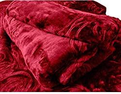 CLOTH FUSION Solid Color Ultra Silky Soft Heavy Duty Quality Indian Mink Blanket 6.6 lbs Double Maroon (Free shipping)