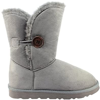 Womens Fur Lined One Button Winter Snow Boots Grey, Size : 9B(M)US , 7B(M)UK