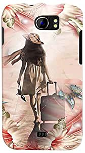 PrintVisa 3D-MMXC2A110-D8128 Travel Girl Colorful Back Cover for Micromax Canvas 2 A110