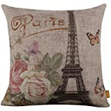 LINKWELL 45x45cm Retro Shabby Chic Pink Roses Paris Eiffel Tower Linen Pillow Case Cushion Cover