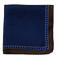 PS-A-639 - Silk Pocket Square - Black - Brown - Royal