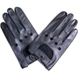 Jasmine Silk Mens Luxury Genuine Lambskin Leather driving Gloves BLACK