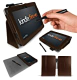LuvTab® Executive Wallet Case with Stand up Typing positions for the AMAZON KINDLE FIRE HD (2012 7 inch release) with Auto wake / sleep magnetic sensor - fits 16GB or 32GB models (BROWN)