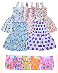 Sathiyas Baby Girls Dresses with Nappy (5 Frocks and 5 Nappys) (Pack of 10)