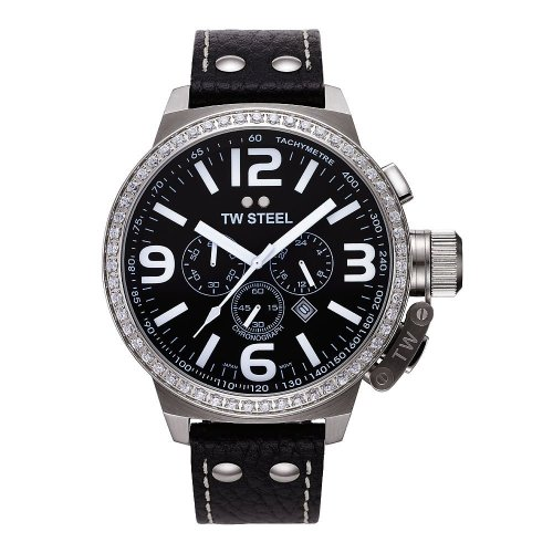 TW Steel Unisex Quartz Watch with Black Dial Chronograph Display and Black Leather Strap TW9