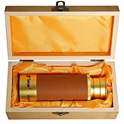 Gskyer 20*42 Hand-held Gold Aluminum Ally Pirate Telescope/Scope with Wood Box