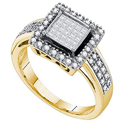 0.33 Carat (ctw) 10K Yellow Gold Round And Princess White Diamond Ladies Invisible Engagement Ring 1/3 CT