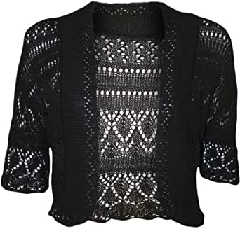 WearAll Women's Crochet Knitted Short Sleeve Bolero - Black - US 10-12 (UK 14-16)