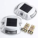 8X JACKYLED 2nd Generation Solar Powered Ultra Bright Durable Wireless Road Path Deck Dock Warning Lights Step Lights with 6 White LEDs, Not Eletric Leakage, Energy Saving, Eoc-Friendly, IP68, Suitable for Driveway, Garden, Walkway, Sidewalk Steps and More, 2 Years Warranty,CE & RoSHs Listed(White)