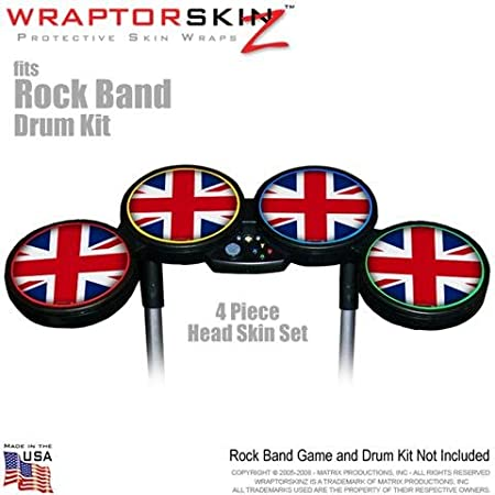 Union Jack 02 Skin by WraptorSkinz fits Rock Band Drum Set for Nintendo Wii, XBOX 360, PS2 & PS3 (DRUMS NOT INCLUDED)